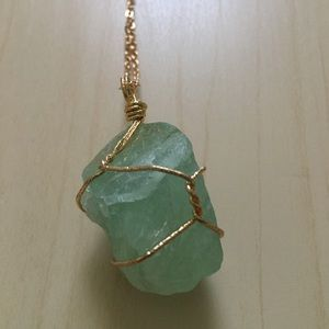 Aventurine Raw Crystal Gold Wire Wrapped Necklace